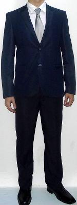 Navy Suit Jacket Silver Tie White Dress Shirt Navy Suit Pants Black Leather Shoes