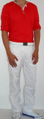 Orange Button Shirt White Belt White Pants White Shoes