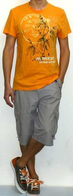 Orange Crew Neck Short Sleeve Graphic Tee Gray Cargo Shorts Gray Canvas Shoes