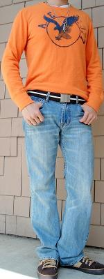 Orange Graphic Tee Brown Cotton Belt Light Blue Jeans Brown Sneakers