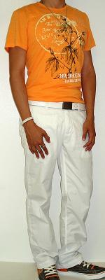 Orange Graphic Tee White Cotton Pants White Leather Belt White Sneakers