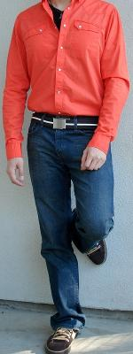 Orange Shirt Brown Cotton Belt Brown Casual Shoes