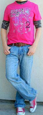 Pink Graphic Tee Pink Shoes Black White Striped T-Shirt Brown Leather Belt Light Blue Jeans