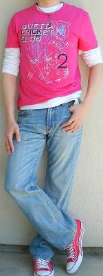 Pink Graphic Tee White T Shirt Light Blue Jeans Pink Shoes