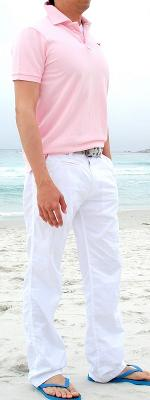 Pink Polo White Pants Blue Flip Flops