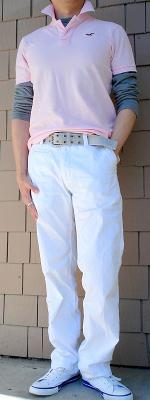 Pink Polo Gray T-Shirt Gray Belt White Pants White Shoes