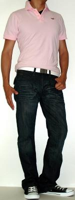 Pink Polo White Leather Belt Black Shoes