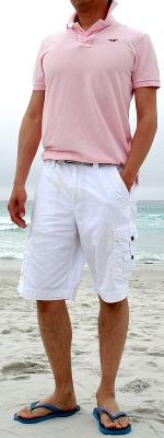 Pink Polo White Shorts Blue Flip Flops