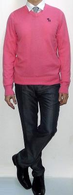 Pink V-neck Sweater Silver Tie White Shirt Dark Gray Pants Black Leather Shoes