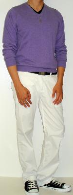 Purple Sweater Black Belt White Pants Black Shoes