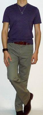 Purple V-neck Short Sleeve T-shirt Khaki Pants Brown Belt Brown Ankle Boots