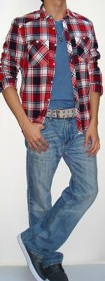 Red Black Plaid Shirt Blue Tee Grey Cotton Belt Light Blue Jeans Dark Gray Shoes