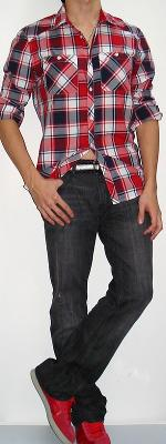 Red Black White Plaid Shirt Black Jeans Black White Belt Red Shoes