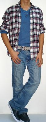 Red Black White Plaid Shirt Blue T-shirt Gray Belt Light Blue Jeans Gray Shoes
