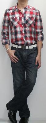 Red Black White Plaid Shirt White Leather Belt Dark Blue Bootcut Jeans Black Leather Loafers