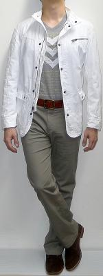 White Button Jacket Gray V-neck Graphic Tee Khaki Pants Suede Ankle Boots Brown Belt