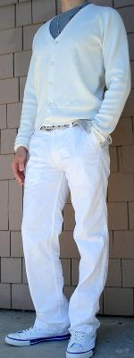 White Cardigan Gray Belt White Pants
