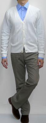 White Cardigan Light Blue Shirt Khaki Pants Suede Ankle Boots