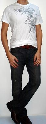White Crew Neck Graphic T-shirt Brown Belt Black Jeans Brown Shoes
