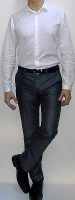 White Dress Shirt Black Leather Belt Dark Gray Suit Pants Black Dress Shoes