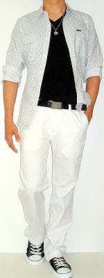White Floral Shirt Black T-Shirt Black Leather Belt White Pants Black Shoes
