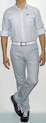 White Floral Shirt Gray Pants Dark Green Shoes White Leather Belt