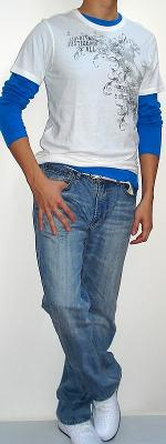 White Graphic Tee Blue Long Sleeve T-shirt White Belt Light Blue Jeans White Shoes