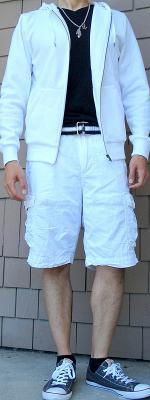 White Hoodie Jacket Black Webbing Belt White Shorts
