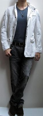White Jacket Dark Blue T-Shirt Black Snow Jeans Suede Ankle Boots