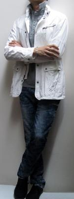 White Jacket Gray Polo Shirt Blue Snow Jeans Black Sneakers