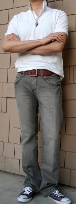 White Polo Brown Leather Belt Gray Jeans Gray Shoes