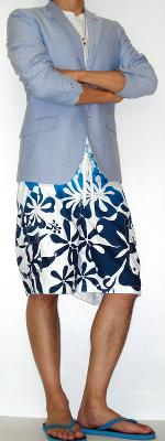 White T-Shirt White Floral Swim Trunks Blue Sandals Light Blue Blazer
