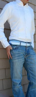 White Tuxedo Shirt Blue Ribbon Belt Light Blue Jeans White Shoes