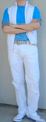 White Vest Blue Tee Gray T-Shirt Gray Belt White Pants White Shoes