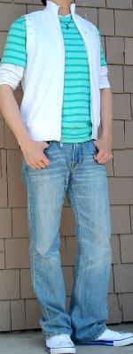 White Vest Green Striped T-Shirt Light Blue Jeans White Shoes