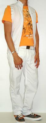 White Vest White Belt White Pants Orange Graphic Tee Brown Orange Shoes