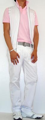White Vest White Pants Gray Cotton Belt Pink Polo White Shoes