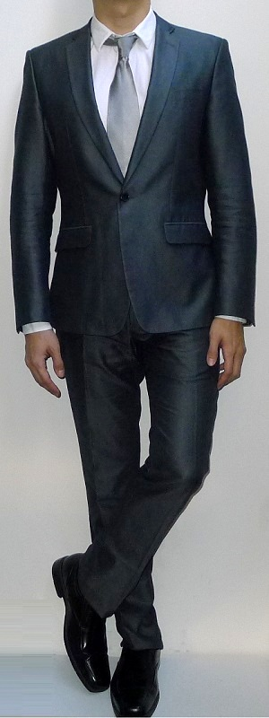 Men's Dark Gray Suit Blazer White Dress Shirt Silver Tie Dark Gray Suit Pants Black Dress Shoes