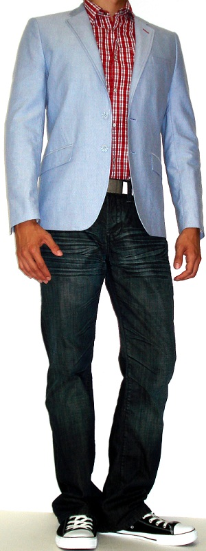 Men's Sky Blue Blazer Red Checkered Shirt Dark Blue Jeans Black Converse Shoes