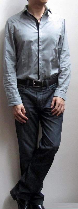 Men's Grey Dress Shirt Dark Brown Belt Black Jeans Black Ankle Boots