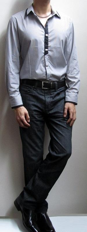 Men's White Striped Shirt Black Jeans Dark Brown Belt Black Dress Shoes
