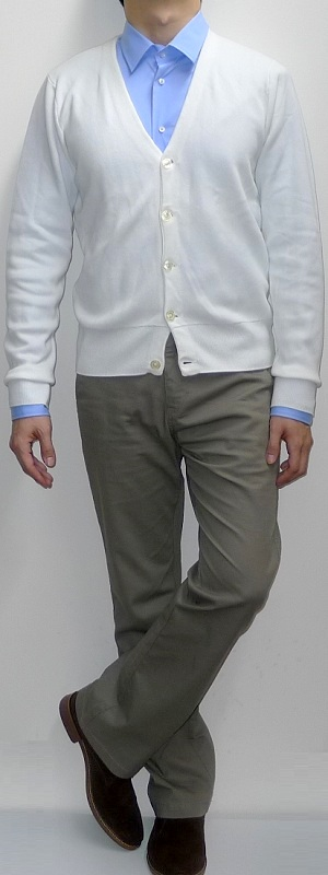 White Cardigan Light Blue Shirt Khaki Pants Suede Ankle