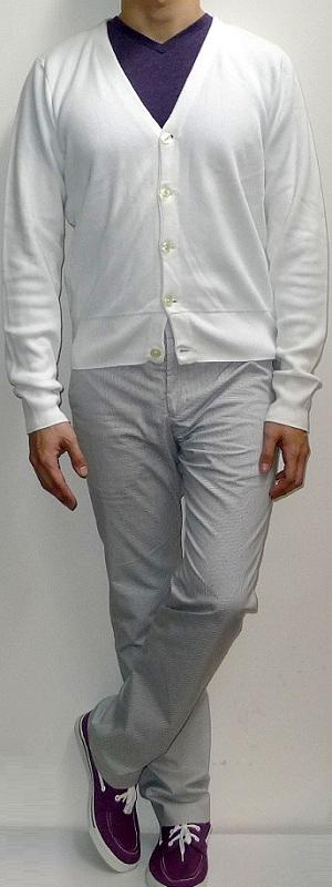 White Cardigan Purple T-shirt White Pants Purple Canvas Shoes
