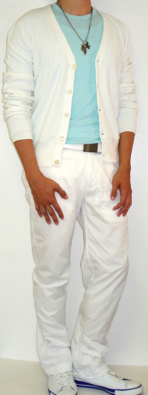 Men's White Cardigan White Pants White Shoes White Belt Sky Blue T-Shirt