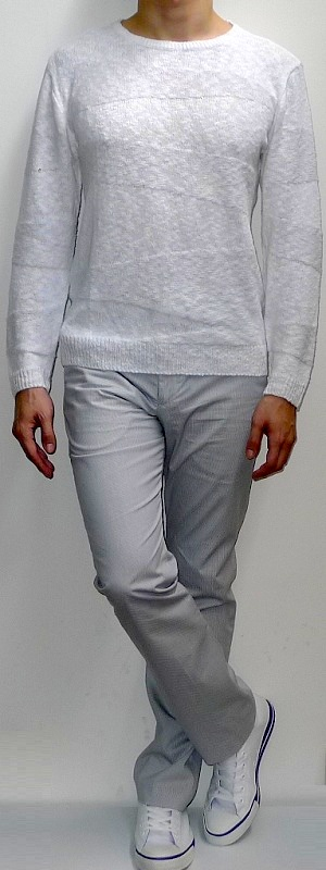 White Crew Neck Sweater White Pants White Canvas Shoes
