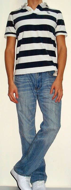 Men's White Dark Blue Wide Stripe Polo Light Blue Jeans White Shoes