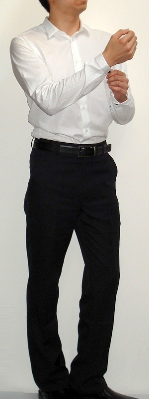 Men's White Dress Shirt Black Pants Black Belt Black Dress Shoes