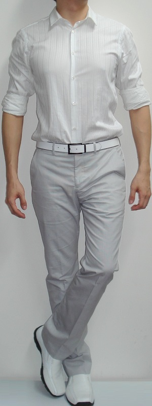 Men's White Dress Shirt Gray Dress Pants White Dress Shoes White Leather Belt