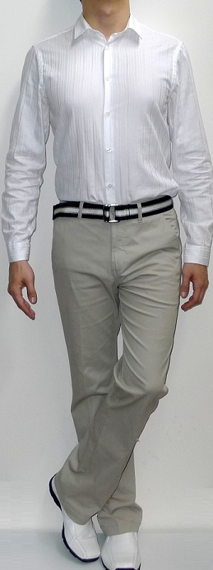 Men's White Dress Shirt Khaki Pants White Dress Shoes Black Webbing Belt