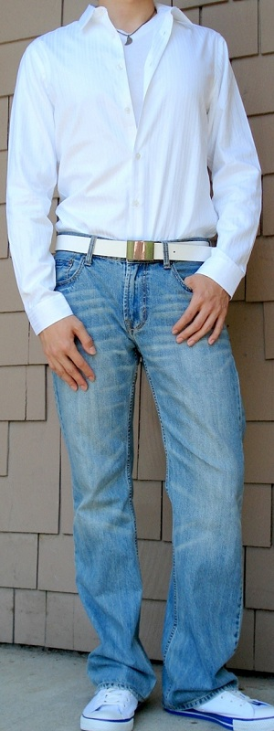 Men's White Dress Shirt White Leather Belt White Canvas Shoes Light Blue Jeans
